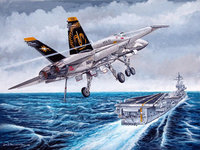 Рисунок самолёта летящего на авианосец