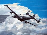 Рисунок самолёта летящего среди дождевых облаков
