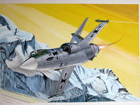 Самолёт люфтваффе летит над снежными вершинами