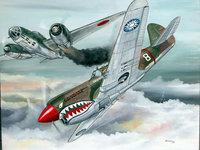 Рисунок битвы в небе военных самолётов