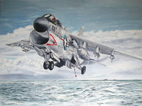 Рисунок военного истребителя пролетающего над морем
