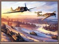Немецкие самолёты прикрывают колонну танков
