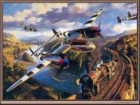 Атака авиации на проходящий по мосту поезд