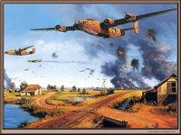 Зарисовка военных самолётов в бою