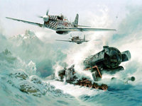 Рисованные самолёты и поезд в снегах