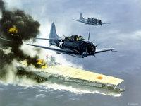 Военные штурмовики атакуют большой авианосец