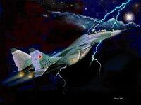 МиГ-29 в ночном грозовом небе
