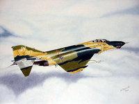 Рисованный самолёт летит над облаками