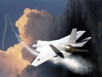 Военный белый самолёт летит на задание