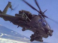 Боевой военный вертолет над заснеженными землями