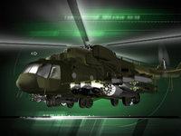 Военный камуфлированный вертолет