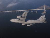 Военный самолёт США летит над мостом