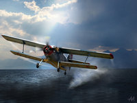 Одномоторный самолёт над водой