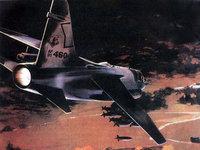 Бомбардировщик сбрасывает бомбы