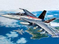 Два военных F-18 над синим морем