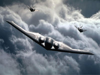 Нортроп B-2 Спирит в сопровождении Локхид F-117 Найт