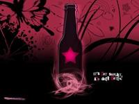 Бутылка с розовой звездой