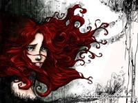 Красные волосы девушки