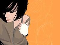 Девушка на оранжевом фоне