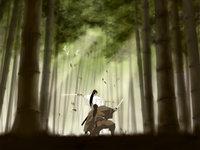 Японские самураи в бамбуковом лесу