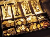 Касса с деньгами и монетами