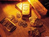 Золотые самородки и слитки с монетами