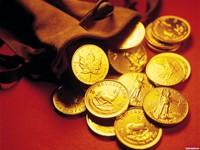 Золотые монетки в мешочке