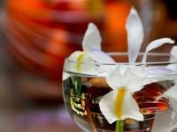 Белая лилия в стакане с водой