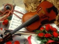 Скрипка, ноты и розы