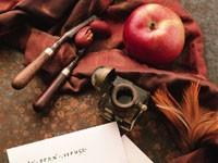 Чернильница и яблоко на ткани