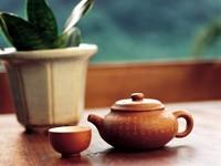 Заварник с чашкой и цветком на столе