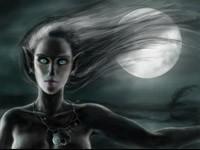 Темная эльфийка на фоне луны