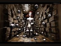 3D готическая рыжая девушка