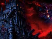 Мрачный темный замок в кровавом закате