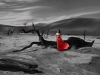Девушка в красном на чёрно белом