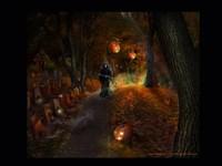 Смерть с косой на погосте в хэллоуин