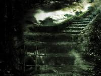 Человек в клетке на лестнице в дождь