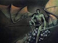 Крылатый демон на черепах