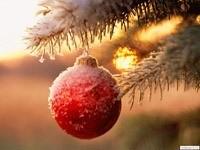 Шарик на елке, со снегом