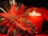 Свеча и цветок из листьев