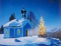 Церковь, елка, ночь