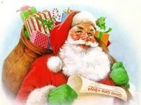Санта-Клаус со списком и мешком подарков