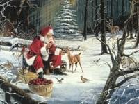 Санта-Клаус с лесными зверями