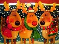 Три оленя в шарфах