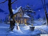 Зимняя ночь, дом, снеговик, фонарь