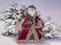 Санта с оленями в елках