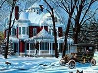 Зимний дом и автомобиль