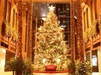 Новогодняя елка в холле с пальмами