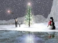 Снеговик и елка у катка