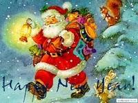 Санта с подарками в лесу